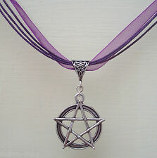 Large Pentagram Purple Ribbon & Cord Necklace - Wiccan Pagan Witch