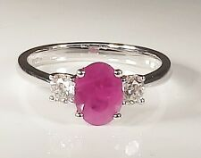 18CT WHITE GOLD OVAL CUT 1.5CT RUBY & 0.4CT DIAMOND 3 STONE ENGAGEMENT RING