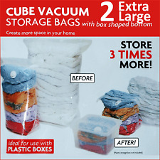 2 x LARGE SPACE SAVING STORAGE CUBE BAGS VACCUM VAC SPACEBAGS vacum EZ-VAC cube