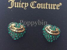 BRAND NEW JUICY COUTURE PAVE HEART STUDS EARRINGS IN TAGGED BOX