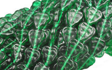 25 Emerald Green Czech Glass Leaf Beads 10MM
