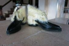 MAUD FRIZON BOOTIES BLACK LEATHER LEMON RABBIT FUR FAB NWOT 38.5