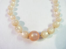 Vintage pink plastic moon glow beaded hidden clasp necklace 17 1/2 inches