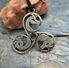 Antique Silver Plt Triskelion Dragon Pendant Necklace Viking Norse Celtic Gift