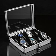 Aluminium Square Jewelry 12 Grid Slots Watches Display Storage Box Case#DB