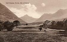 Golf Course Corrie Isle of Arran  pc used 1927 Brodick double circle postmark