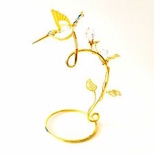 "SWAROVSKI CRYSTAL ELEMENTS ""Hummingbird"" FIGURINE - ON STAND 24KT GOLD PLATED"