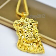 18k Gold Plated Gunmetal MICRO JESUS HEAD PIECE Pendant Chain Hip Hop Necklace
