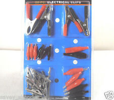 28PC. ALIGATOR ELECTRICAL CLIPS CHARGING CLAMPS JUMPER LEADS ASSORTED KIT