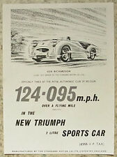 TRIUMPH 2 LITRE SPORTS CAR Speed Record Leaflet Ealry 1950's