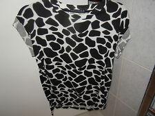 ATMOSPHERE White and Black Patterned Capped Sleeved Cotton Top Size 10 NEW wot