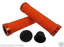 Orange Lock On BMX MTB Grips Bike Bicycle Mountain Scooter Cycle LockOn Alloy A1