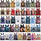 Men's 3D Printings Tank Top Casual Cotton Sleeveless Shirt Vest For DIY Tee us