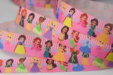 "1"" 25mm Modern Princesses Pink Grosgrain Ribbon Hairbow bow 5Yards"