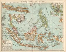 B6275 Malay Archipelago - Carta geografica antica del 1902 - Old map