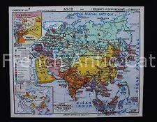 Rare carte scolaire ancienne ASIE economique politique 22 Hatier 1,2*1 m déco