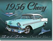"Chevrolet BelAir ""1956 Chevy"" Metal Sign  410mm x 320mm  (de blue-green)"