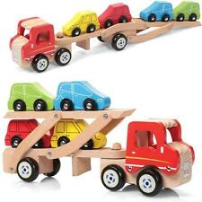 Wooden Car Transporter Toy with 4 Cars