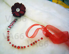Swarovski Crystal n Rondelle Baby Pacifier Holder Clip Accessory Red Custom Made
