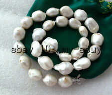 White Baroque Keshi KEISHI Pearl Necklace Blister Pearl Clasp 18""