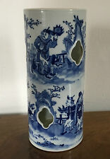 Antique 19th c. Chinese Porcelain Hat Stand Vase Blue & White Figures Landscape