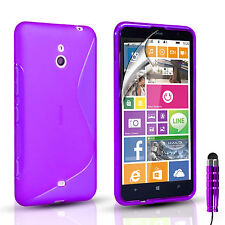S-Line Silicone Gel Case Cover Pouch For Nokia Lumia 1320 Plus Screen Protector