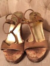 Womens Shoes Bongo 8.5 Worn Used Cork Heels 4.25 Heel Brown