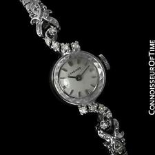 1971 LONGINES Vintage Ladies Dress Watch - 14K White Gold & Diamonds