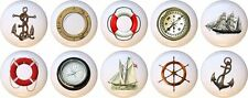 Set of 10 Nautical Ship Anchor CERAMIC Drawer Pulls Dresser Drawer Cabinet Knobs