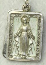 RARE VTG STERLING SILVER RECTANGLE SQUARE MIRACULOUS MARY SLIDING MEDAL