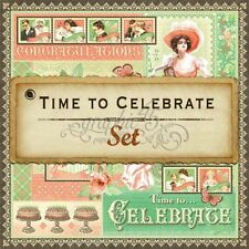 """GRAPHIC 45 """"TIME TO CELEBRATE"""" 12X12 PAPER PARTY 8 SHEETS SCRAPJACK'S PLACE"""