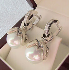 SALE !  WHITE PEARL STERLING SILVER 925  EARRINGS with ENAMEL and SWAROVSKY