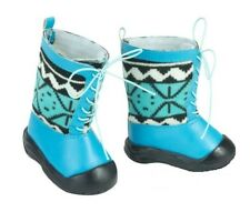 """Blue Lace-Up Winter Boots Shoes for Bitty Baby or 18"""" American Girl Doll Clothes"""