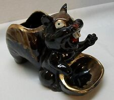 Brown Squirrel Planter with Small Bird Squirrel Feed Tray Candy Nut Dish Vintage