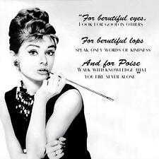 Audrey Hepburn Picture Saying Beautiful Eyes Lips Quote Bathroom Shower Curtain