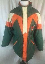 Very HTF Miami Hurricanes VTG Parka Goose Down Jacket Feathers XL  Embroidery