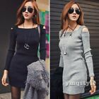 Women Winter Knitted Casual Bodycon Party Off Shoulder Sweater Pencil Mini Dress
