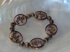 Estate Bronze Copper Colored Bead with Flat Clear Disk with Confetti Stretch