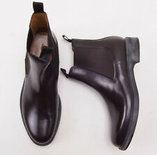 NIB $825 SANTONI Dark Brown Polished Leather Ankle Boots 11.5 D Shoes New