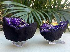 Purple Geode Pair W/Stands Crystal Geode Quartz Gemstone Specimen Moroccan Geode