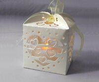 24x CREAM LANTERNS HOLDERS FOR LED TEA LIGHT TEALIGHT WEDDING CANDLE HEART WHITE