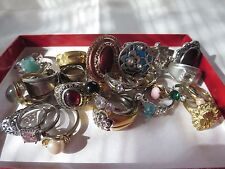 Huge Lot Of Vintage & Mod Jewelry Rings Costume Junk Drawer Missing Stones 30pcs