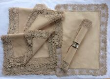Heirloom 1800s 8 Table Mats Napkins Italian Linen Exquisite Silk Lace Dowry