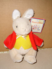 ROYAL DOULTON BUNNYKINS Plush Stuffed Jointed Rabbit Red & Yellow Jacket 1998