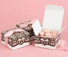 100 NEW Pink & Brown Damask Wedding Favor Boxes