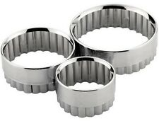 3 PACK SET ROUND SHAPE METAL PASTRY COOKIE DOUGH BISCUIT CAKE CUTTER CRAFT 90065