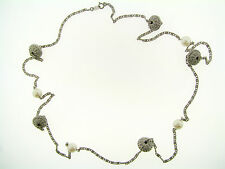 Vintage Avon Silver Bali Style Faux Pearl Beaded Station Long Chain Necklace