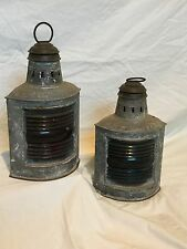 RARE SET OF PERKO SHIPS LANTERNS RED AND BLUE GLASS SINGLE WICK GAS BURNING
