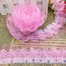 NEW 3 Yards 4-Layer 50mm Pink Organza Lace Gathered Pleated Sequined Trim 008#