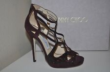 NIB $1,595 Jimmy Choo VAULT Crystal BURGUNDY Suede Cage Sandal Heel Shoes 36 / 6